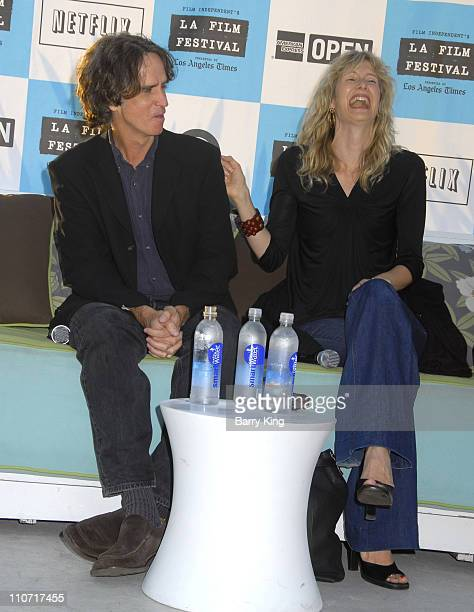 Director Jay Roach and actress Laura Dern at the 2008 Los Angeles Film Festival Poolside Chat 'Hollywood DC' held at the W Hotel pool on June 27 2007...