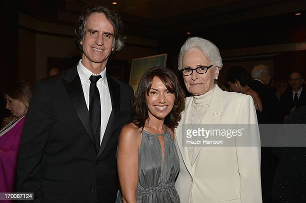 Director Jay Roach musician Susanna Hoffs and AFI CEO Jean Firstenberg attend a reception at the 41st AFI Life Achievement Award Honoring Mel Brooks...
