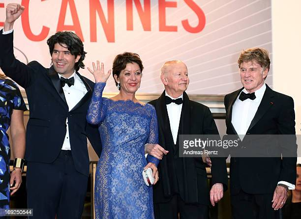 Director JC Chandor Sibylle Szaggars Chairman of the Cannes Film Festival Gilles Jacob and actor Robert Redford attend the 'All Is Lost' Premiere...