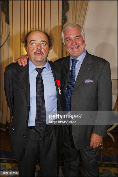 Director Jean Becker And Actor Jacques Villeret Decorated At The French Ministry Of Culture On September 16 2003 In Paris France Jacques Villeret...