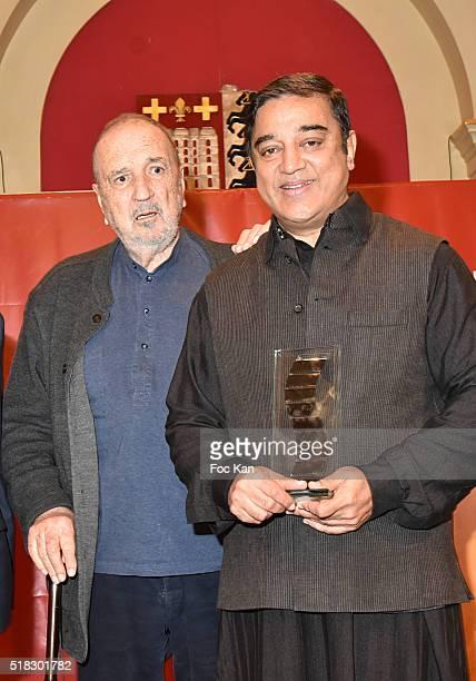 Director Jean Claude CarrIere and Prix Henri Langlois 2016 awarded director/ actor Kamal attend '10eme Rencontres Internationales de Cinema de...