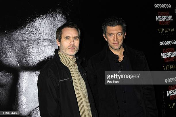 Director Jean Francois Richet and Actor Vincent Cassel attend the Mesrine2 L'Ennemi Public Ni1 After Party at the VIP Room Scala Theater on November...