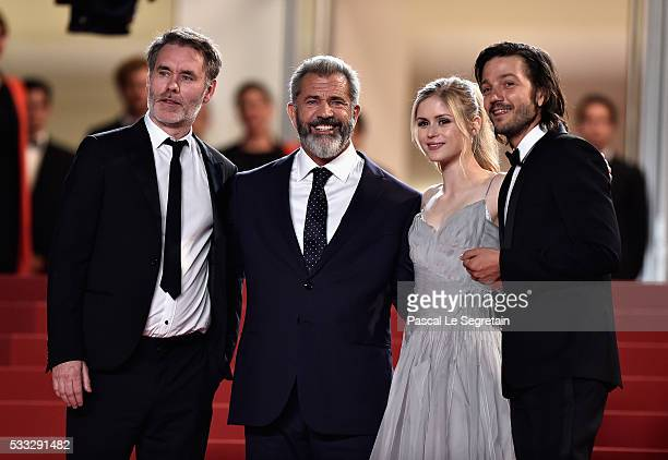 Director JeanFrancois Richet actors Mel Gibson Erin Moriarty and Diego Luna attend the Blood Father Premiere during the 69th annual Cannes Film...