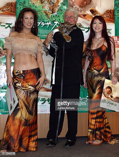 Director JeanJacques Annaud Kyoko Kano and Mika Kano attend the Japan Premiere for 'Two Brothers' on August 29 2004 in Tokyo Japan