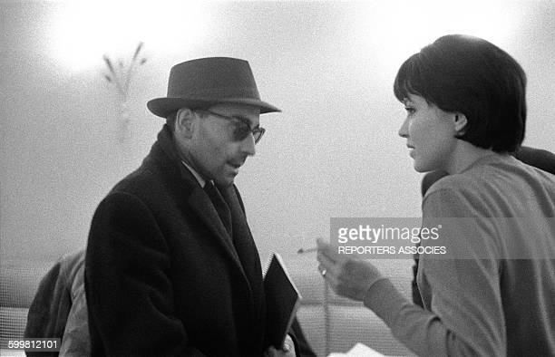 Director JeanLuc Godard and Actress Anna Karina in Paris France in 1960