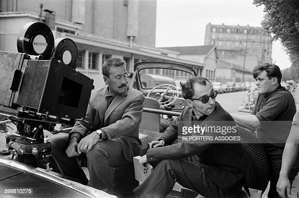 Director JeanLuc Godard on the set of his Movie 'Alphaville' in Paris France in 1965