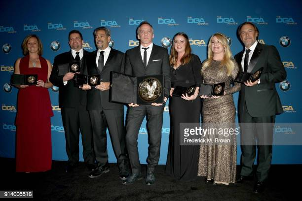 Director JeanMarc Vallee winner of the award for Outsanding Directorial Achievement in Made for Television and MiniSeries for 'Big Little Lies' poses...
