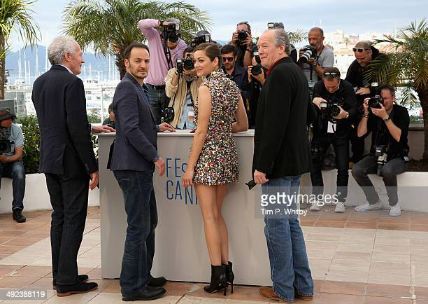 "Director Jean-Pierre Dardenne, actors Fabrizio Rongione, Marion Cotillard and director Luc Dardenne attend the ""Two Days, One Night"" photocall during..."