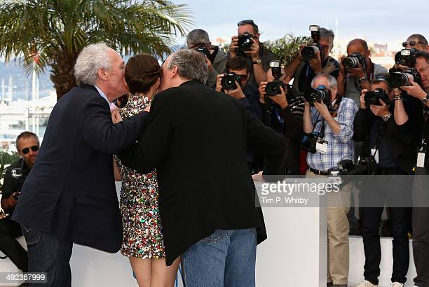 "Director Jean-Pierre Dardenne, actress Marion Cotillard and director Luc Dardenne attend the ""Two Days, One Night"" photocall during the 67th Annual..."