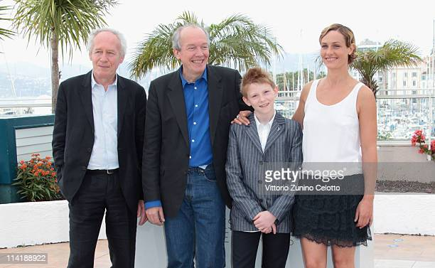 Director JeanPierre Dardenne director Luc Dardenne actress Cecile De France and actor Thomas Doret attend The Kid With A Bike photocall at the Palais...