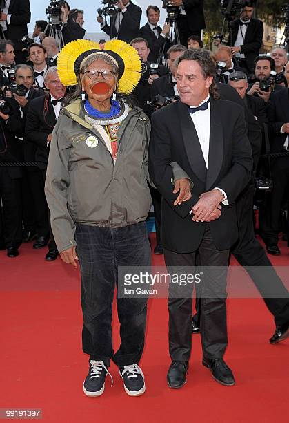 Director JeanPierre Dutilleux and tribal chief Raoni Metuktire attend the 'On Tour' Premiere at the Palais des Festivals during the 63rd Annual...