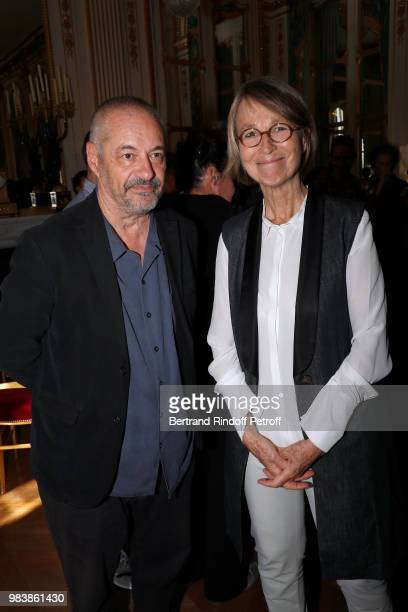 Director JeanPierre Jeunet and French Minister of Culture Francoise Nyssen attend Decorations are given at 'Ministere de La Culture' on June 25 2018...