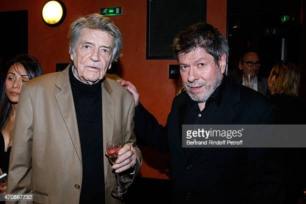 Director JeanPierre Mocky and Regis Laspales pose backstage after French Humorists Regis Laspales and Philippe Chevallier perform in their show Vous...
