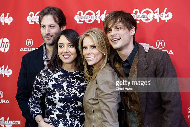Director Jeff Baena actors Aubrey Plaza Cheryl Hines and Matthew Gray Gubler attend the Life After Beth premiere at Library Center Theater during the...