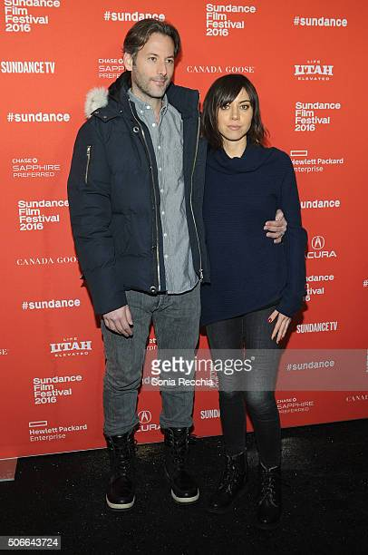 Director Jeff Baena and Aubrey Plaza attend the 'Joshy' Premiere during the 2016 Sundance Film Festival at Library Center Theater on January 24 2016...