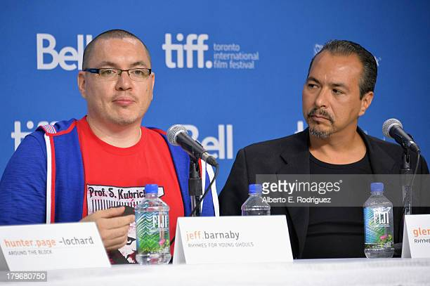 Director Jeff Barnaby and actor Glen Gould of 'Rhymes for Young Ghouls' speak onstage at First Peoples Cinema Press Conference during the 2013...