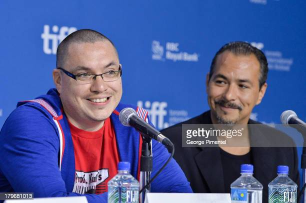 Director Jeff Barnaby and Actor Glen Gould of 'Rhymes For Young Ghouls' speak onstage at the 'First Peoples Cinema' Press Conference at the 2013...
