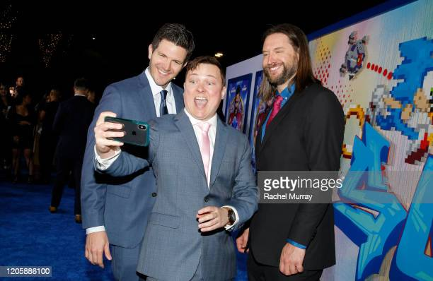 Director Jeff Fowler and screenwriters Josh Miller and Pat Casey attend a Sonic The Hedgehog Special Screening at the Regency Village Theatre on...