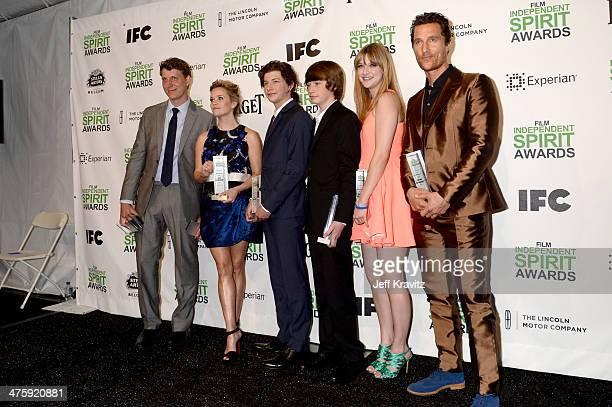 Director Jeff Nichols actress Reese Witherspoon actor Tye Sheridan actor Jacob Lofland actress Bonnie Sturdivant and actor Matthew McConaughey pose...