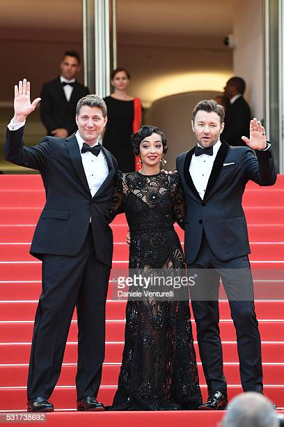 "Director Jeff Nichols, actress Ruth Negga and actor Joel Edgerton attend the ""Loving"" premiere during the 69th annual Cannes Film Festival at the..."