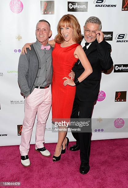 "Director Jeffrey Drew, comedian Kathy Griffin and Patrick Rush arrive at the 2012 ""Best In Drag"" Show Benefiting Aid For AIDS at Orpheum Theatre on..."