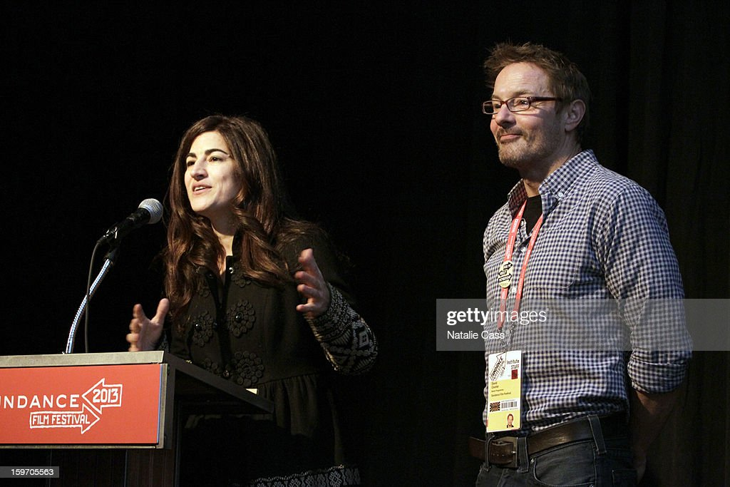 Director Jehane Noujaim(L) and Sundance Senior Programmer David Courier attend 'The Square(Al Midan)' Premiere during the 2013 Sundance Film Festival at Yarrow Hotel Theater on January 18, 2013 in Park City, Utah.