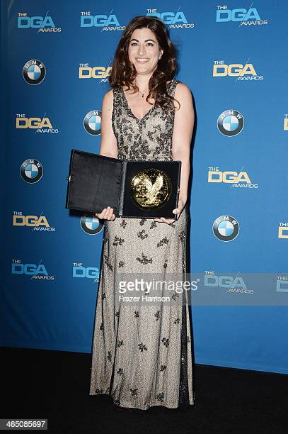 """Director Jehane Noujaim winner of the Outstanding Directorial Achievement in Documentary for 2013 award for """"The Square"""" poses in the press roomposes..."""