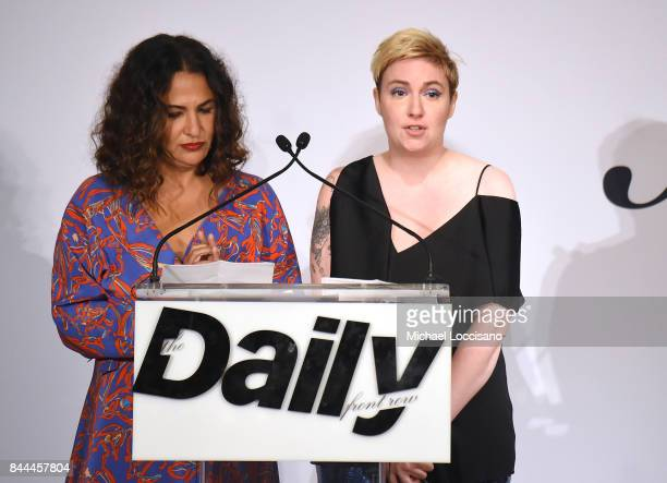 Director Jenni Konner and actress Lena Dunham receive the Best Digital Destination award onstage during the Daily Front Row's Fashion Media Awards at...