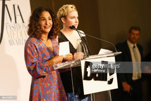 Director Jenni Konner and actress Lena Dunham speak onstage during the Daily Front Row's Fashion Media Awards at Four Seasons Hotel New York Downtown...
