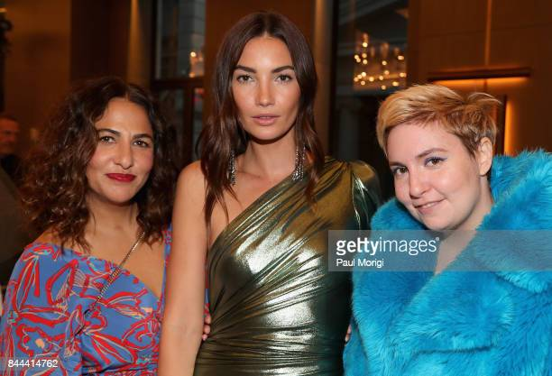 Director Jenni Konner model Lily Aldridge and actress Lena Dunham attend the Daily Front Row's Fashion Media Awards at Four Seasons Hotel New York...