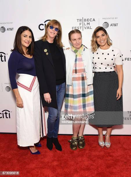 Director Jennifer Konner cofounder of Tribeca Film Festival Jane Rosenthal and actresses Lena Dunham and America Ferrera attend Tribeca Talks Lena...