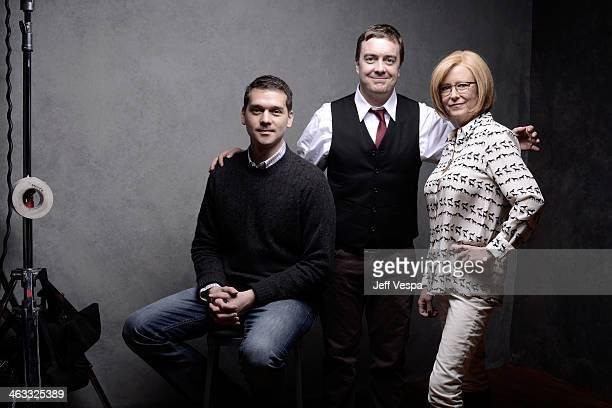 Director Jeremy Saulnier actor Macon Blair and actress Eve Plumb pose for a portrait during the 2014 Sundance Film Festival at the WireImage Portrait...