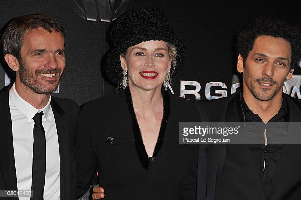 Director Jerome Salle and actors Sharon Stone and Tomer Sisley attend the Paris Premiere for 'Largo Winch II' at Cinema Gaumont Opera on January 14...