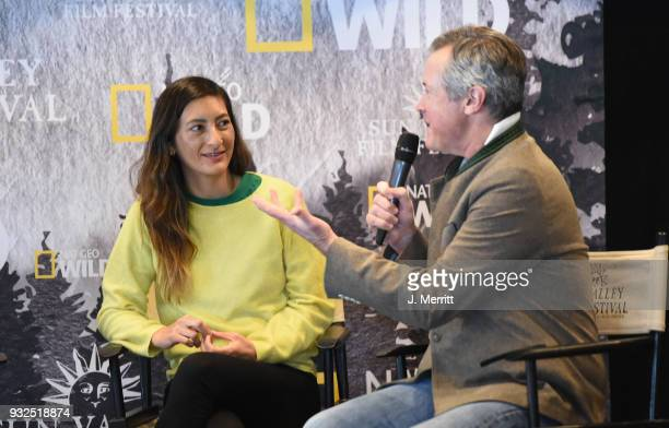 Director Jessica Sanders and Sun Valley Film Festival Executive Director Teddy Grennan speak to an audience during the Salon Series at the 2018 Sun...
