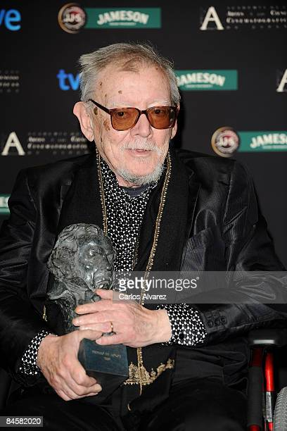 Director Jesus Franco poses after receiving the Goya of Honor award during the Goya Cinema Awards 2009 ceremony on February 01 2009 at the Palacio de...