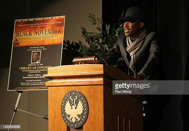 Director Jeta Amata makes a few remarks at the 'Black November' film screening at The Library of Congress on February 29 2012 in Washington DC