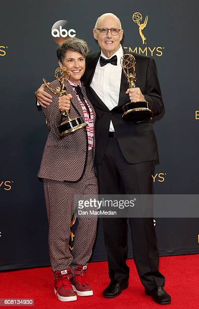 Director Jill Soloway winner of Outstanding Directing for a Comedy Series for the 'Transparent' episode 'Man on the Land' and actor Jeffrey Tambor...
