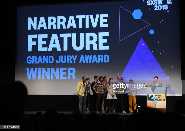 Director Jim Cummings and casr and crew accept the Narritive Feature Award for 'Thunder Road' at the SXSW Film Awards show during the 2018 SXSW...