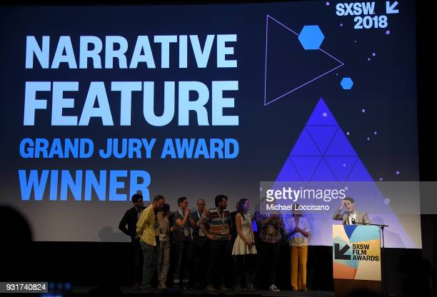 Director Jim Cummings and cast and crew of 'Thunder Road' accept the Narritive Feature Award at the SXSW Film Awards show during the 2018 SXSW...
