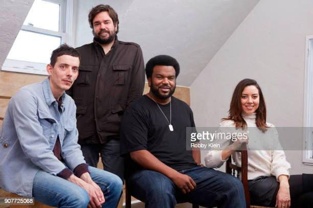 Director Jim Hosking Matt Berry and Actors Craig Robinson and Aubrey Plaza from the film 'An Evening with Beverly Luff Linn' pose for a portrait in...