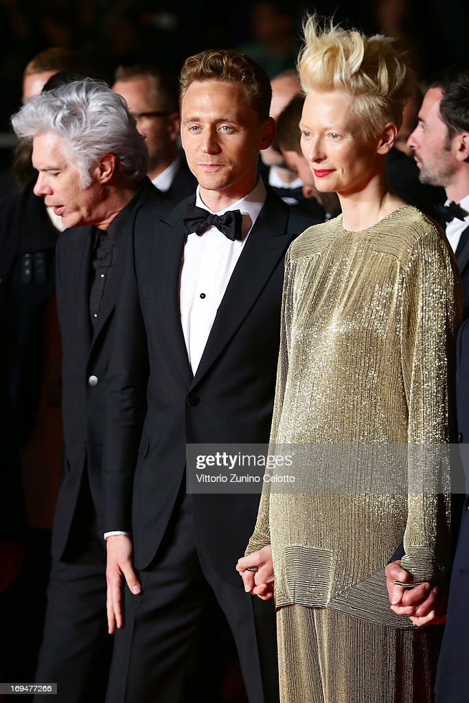 Director Jim Jarmusch, actors Tom Hiddleston and Tilda Swinton attend the 'Only Lovers Left Alive' premiere during The 66th Annual Cannes Film Festival at the Palais des Festivals on May 25, 2013 in Cannes, France.
