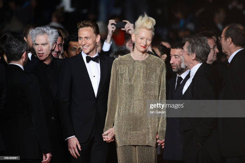 Director Jim Jarmusch, actors Tom Hiddleston, Tilda Swinton, Slimane Dazi and John Hurt attend the 'Only Lovers Left Alive' premiere during The 66th Annual Cannes Film Festival at the Palais des Festivals on May 25, 2013 in Cannes, France.