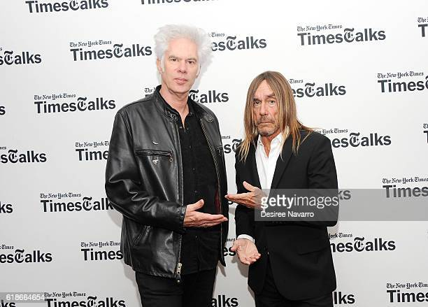 Director Jim Jarmusch and singer-songwriter Iggy Pop attend TimesTalks at DGA Theater on October 27, 2016 in New York City.