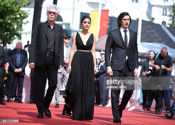 "Director Jim Jarmusch, Golshifteh Farahani and Adam Driver attend the ""Paterson"" premiere during the 69th annual Cannes Film Festival at the Palais..."