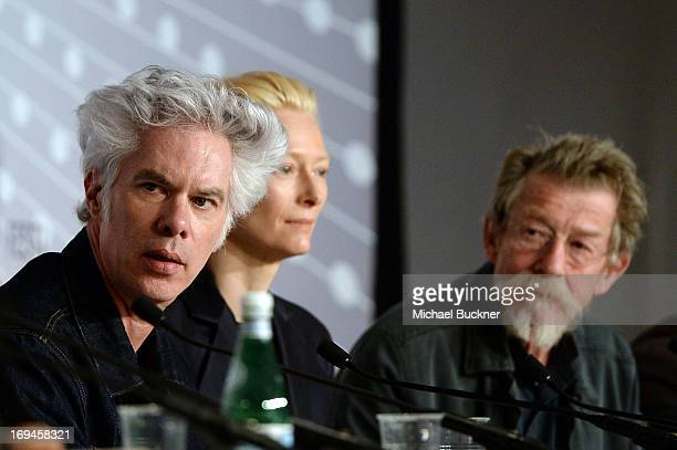 Director Jim Jarmusch Tilda Swinton and John Hurt attend the 'Only Lovers Left Alive' press conference during The 66th Annual Cannes Film Festival at...