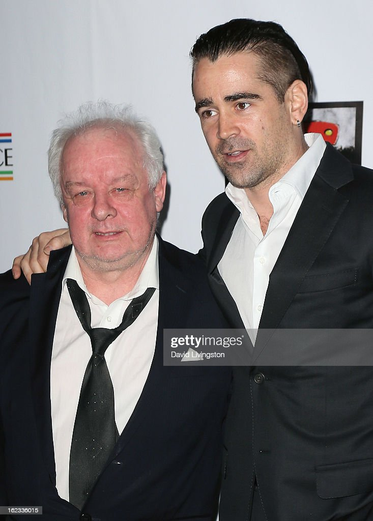 Director Jim Sheridan (L) and actor Colin Farrell attend the 8th Annual 'Oscar Wilde: Honoring The Irish In Film' Pre-Academy Awards Event at Bad Robot on February 21, 2013 in Santa Monica, California.