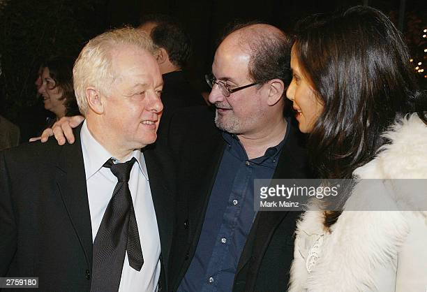 Director Jim Sheridan author Salman Rushdie and Padma Lakshmi attend the after party for the premiere of In America at Cafe St Bart's November 24...