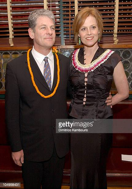 Director Jim Simpson and Sigourney Weaver during New York Premiere of The Guys After Party at Gabriels Restaurant in New York City New York United...