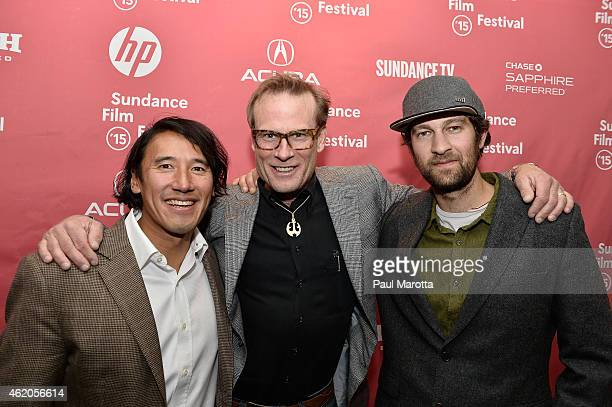 Director Jimmy Chin and climbers Conrad Anker and Renan Ozturk attend Meru premiere during the 2015 Sundance Film Festival during the 2015 Sundance...