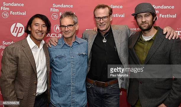 """Director Jimmy Chin, author Jon Krakauer and climbers Conrad Anker and Renan Ozturk attend """"Meru"""" premiere during the 2015 Sundance Film Festival..."""
